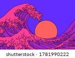 great wave in vaporwave pop art ... | Shutterstock .eps vector #1781990222