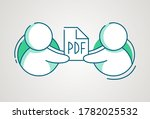share pdf file icon. man give... | Shutterstock .eps vector #1782025532