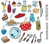 hand drawn restaurant menu... | Shutterstock .eps vector #178205378