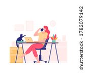 working at home  freelance... | Shutterstock .eps vector #1782079142