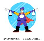 super hero cleaner. a person... | Shutterstock .eps vector #1782109868