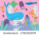 under the sea  whale...   Shutterstock .eps vector #1782201878