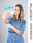 Woman With Brazilian Real Money ...