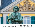 Beethoven Monument by Ernst Julius Hähnel, large bronze statue of Ludwig van Beethoven unveiled on Münsterplatz in 1845 on the 75th composer