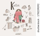 Cute vector alphabet Profession. Letter K - Knitter