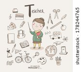 cute vector alphabet profession.... | Shutterstock .eps vector #178244765
