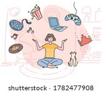 a woman is sitting in a room... | Shutterstock .eps vector #1782477908