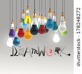 pencil lightbulb 3d and design... | Shutterstock . vector #178248272