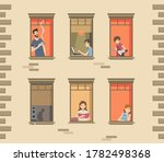 apartment building facade with... | Shutterstock . vector #1782498368