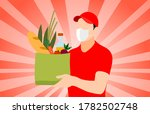 delivery man holding a bag with ... | Shutterstock .eps vector #1782502748