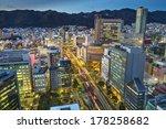 Kobe, Japan city skyline at Sannomiya, the commercial center of the city. - stock photo