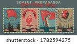 soviet propaganda retro postage ... | Shutterstock .eps vector #1782594275