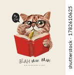 cute cat in glasses reading a... | Shutterstock .eps vector #1782610625