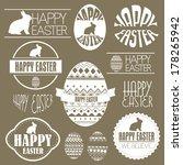 happy easter vector set  design ... | Shutterstock .eps vector #178265942