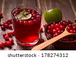 Fresh Cranberry Drink On Woode...