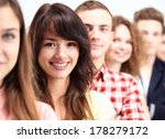 happy smiling students standing ... | Shutterstock . vector #178279172