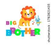two cute little animals. big... | Shutterstock . vector #1782821435