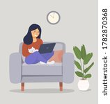young woman is relaxing on... | Shutterstock .eps vector #1782870368