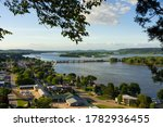 Overlooking the town of Bellevue and the Mississippi River on a Summer afternoon.  Bellevue, Iowa, USA