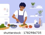 young man cook healthy food at... | Shutterstock .eps vector #1782986735