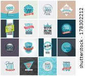 collection of 16 vintage thank... | Shutterstock .eps vector #178302212