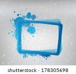 blue grunge frame on gray... | Shutterstock .eps vector #178305698