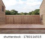An Empty Wood Terrace Between...