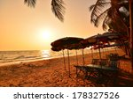 relax chair on sunset beach | Shutterstock . vector #178327526