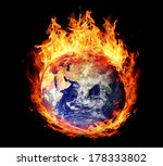 burning globe earth  east...
