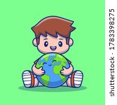 Boy Hugging Cute Earth Cartoon...