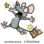Vector illustration of A rat is trying to steal a piece of cheese - stock vector