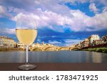 Glass Of White Wine With View...