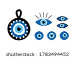 set  collection of turkish blue ... | Shutterstock .eps vector #1783494452