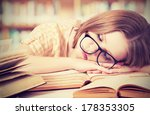 tired student girl with glasses ... | Shutterstock . vector #178353305