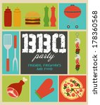 bbq party invitation | Shutterstock .eps vector #178360568