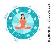 woman sitting in yoga lotus... | Shutterstock .eps vector #1783643225