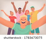 selfie of happy friends. a... | Shutterstock .eps vector #1783673075