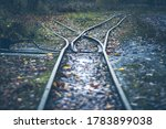 Small photo of narrow gauge railway - railway turnout - rails in the autumn forest, rainy weather