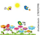 colorful and cute birds on the... | Shutterstock .eps vector #178392998