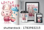rabbit with cup poster and... | Shutterstock .eps vector #1783983215