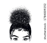 hand drawn curly hairstyle ... | Shutterstock .eps vector #1784009252