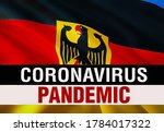 PANDEMIC of coronavirus COVID-2019 on Deutschland country flag background. 3D rendering of coronavirus bacteria. Deutschland flag illustration in PANDEMIC style, dangerous virus