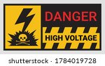 high voltage sign or electrical ... | Shutterstock .eps vector #1784019728