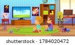 kids watch tv. children...   Shutterstock .eps vector #1784020472