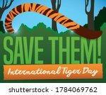 serene striped tiger's tail... | Shutterstock .eps vector #1784069762
