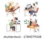 creative people working in... | Shutterstock .eps vector #1784079338