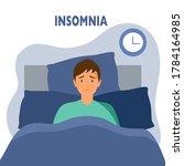 sleepless man suffering from... | Shutterstock .eps vector #1784164985