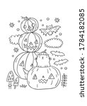 trick or treat coloring page.... | Shutterstock .eps vector #1784182085