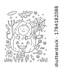 trick or treat coloring page.... | Shutterstock .eps vector #1784182088