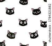 head of cute black cat seamless ...   Shutterstock .eps vector #1784321882